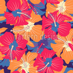 Vibrant Hibiscus Seamless Vector Pattern Design