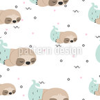 Cute Sloth Mermaids Seamless Vector Pattern Design
