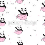 Panda Mermaid Seamless Vector Pattern Design