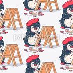 Pinguin Künstler Nahtloses Vektormuster