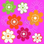 Original Hippie-Blumen Nahtloses Vektormuster