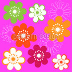 Original Hippie Flowers Vector Pattern