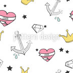 I Love A Sailor Seamless Vector Pattern Design