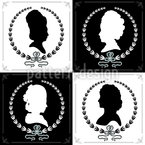 Cameo Ladies Seamless Vector Pattern Design