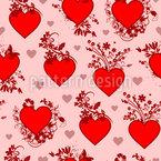 Coeurs de Saint-Valentin ornés Motif Vectoriel Sans Couture