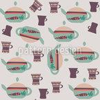 Tea Pots And Mugs Seamless Vector Pattern Design