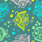 Fishes And Bubbles In Batik Style Seamless Vector Pattern Design