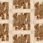 Aztec Eagle Warrior Seamless Vector Pattern Design