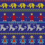 Children Knitting Seamless Vector Pattern