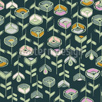 Stylized Garden Flowers Repeating Pattern