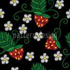 Erdbeere und Blume Nahtloses Vektormuster