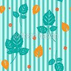 Streifen Und Blätter Nahtloses Vektormuster