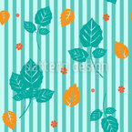 Stripes And Leaves Seamless Vector Pattern Design