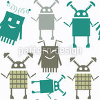 Happy Robots Repeating Pattern
