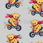 Teddy bears riding a tricycle Pattern Design