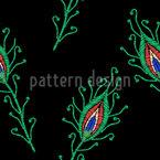Stickerei Pfauenfedern Nahtloses Vektormuster