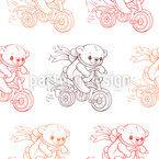 Teddies on Tricycles Seamless Pattern