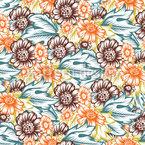 花の秋の素晴らしさ シームレスなベクトルパターン設計