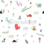 Cute Insects Seamless Vector Pattern Design