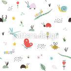 Süsse Insekten Nahtloses Vektormuster