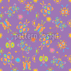 Tingle Tangle Violeta Estampado Vectorial Sin Costura
