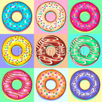 Donuts Pop Art Design de padrão vetorial sem costura