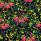 Flamingos In The Tropics Seamless Vector Pattern Design