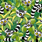 Lemurs Of Madagascar Seamless Vector Pattern