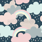 Clouds Rainbow And Drops Vector Design