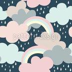 Wolken Regenbogen Und Tropfen Nahtloses Vektormuster