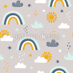 Sun Rainbow Clouds And Stars Pattern Design
