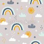 Sun Regenbogen Wolken und Sterne Nahtloses Vektormuster