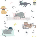 Sleeping Cats Seamless Vector Pattern Design