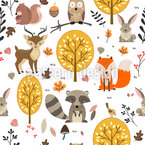 Wild Forest Animals Seamless Vector Pattern Design