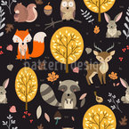 Animales del bosque Estampado Vectorial Sin Costura