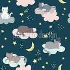 Cats Sleeping In The Clouds Seamless Vector Pattern Design