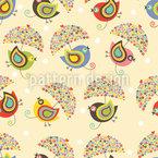 Vögel Mit Regenschirmen Nahtloses Vektormuster