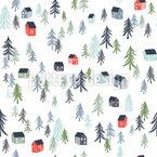 Häuser Im Wald Nahtloses Vektormuster