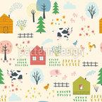 Farm Landscape Seamless Vector Pattern Design