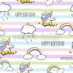 Birthday Unicorn Seamless Vector Pattern Design