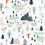 Mountain Landscape Vector Ornament