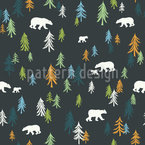 Bears In The Forest Seamless Vector Pattern