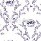 Emmas Cherries Blue Seamless Vector Pattern Design