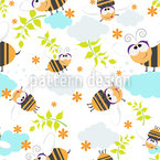 Bumblebee Seamless Vector Pattern