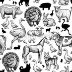 Farm Animal Illustrations Seamless Vector Pattern Design
