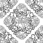 Rose Dream Black White Seamless Vector Pattern Design