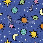 Espacial Estampado Vectorial Sin Costura