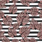 Monstera Blätter und Streifen Nahtloses Vektor Muster