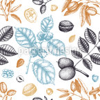 Vintage Nuts Vector Pattern