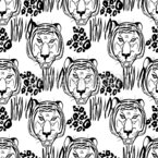 Ink Tigers Seamless Vector Pattern Design